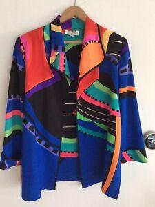 Womens YOLANDA LORENTE 100% Silk Handpainted Blazer Jacket Small S