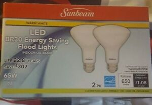 Sunbeam 65W LED Indoor/Outdoor Dimmable Flood Lights - (2 PER BOX)