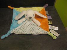 doudou lapin blanc orange vert bleu rayure étoile obaibi neuf