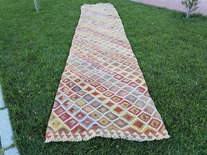 16 foot Extra Long Handmade Wool Multi Color Staircase Turkish Kilim Rug Runner
