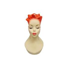 Artistic Vintage Fiberglass Adult Female Mannequin Head With Detailed Make Up