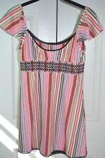 BETSEY JOHNSON vtg Dress Bikini Cover Up Striped Beauty Swim XS/S 2 4 6