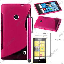 Housse Etui Coque Silicone S-line Rose Nokia Lumia 520 + Stylet + 3 Film écran