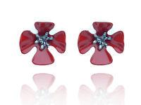 Poppy Dark Red with black middle stud earrings