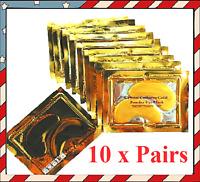 10 Pairs Gold Crystal Collagen Mask anti Wrinkle Dark Circle Eye Patches Pad 24K