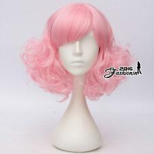 Lolita Side Bang 35CM Medium Curly Pink Hair Women Cosplay Wig Heat Resistant