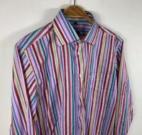 Paul Smith Mens Button Up Shirt Size Medium Multicoloured Striped Long Sleeve