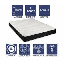 Matelas Latex 80 Kg/m3 + Aertech+ 35 Kg/m3 - 20 cm Souple 7 Zones de Confort - T