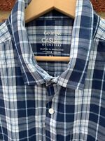George Navy Blue White Check Short Sleeve Shirt 100% Cotton XL Mens