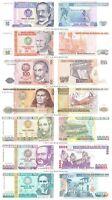 Peru 10 + 50 + 100 + 500 + 1000 + 5000 + 10000 Intis Set of 7 Banknotes UNC