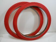 PAIR RED CHENG SHIN BICYCLE TIRES 20 X 1.75 JUMPER RACING BMX GT MONGOOSE HUTCH