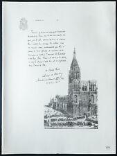 1926 - Lithographie citation de Mgr Ruch avec vue cathédrale de Strasbourg