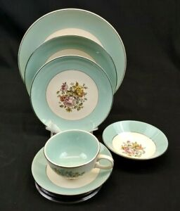 Cunningham Pickett China DANUBE 6 Piece Place Setting Hand Decorated Mid Century