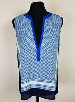 Loft Womens Size XS Tank Top Deep V-Neck Tunic Blouse Striped Sleeveless Blue