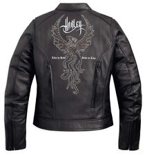 Harley Davidson Women's MAJESTIC Studded Eagle Black Leather Jacket 97082-12VW L