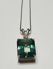 10x12mm, Emerald Cut Green Topaz with Sapphire 14K White Gold Pendant Necklace