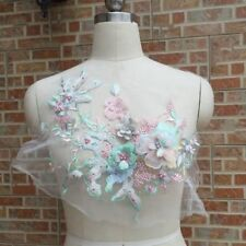 3D Flower Pearl Beaded Embroidery Lace Applique Patch Wedding Dress Fabric Craft
