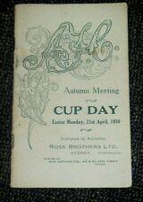 Vintage 1930 AJC Sydney Cup Day Horse Race Programme - Phar Lap