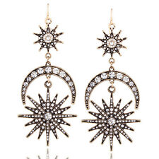 New Women Crystal Chandelier Moon &Sun Dangle Drop Earrings Hook Long Tassel