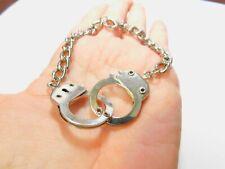 Handcuff Silver Tone Metal Chain Linked Bracelet Men Or Women Vintage