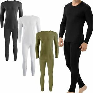 Men Thermal Long Johns Set Tshirt Underwear Trouser & Long Sleeve Shirt Vest Top