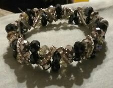 Deep Dark Purple Glass Crystal Faceted Ab Beads Bling Stretch Bracelet New