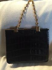 Vintage black crocodile handbag with gold chain strap