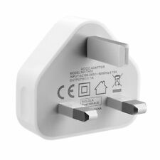 WHITE 3 PIN USB UK MAINS CHARGER ADAPTER PLUG For SAMSUNG IPHONE iPAD AIR IPOD