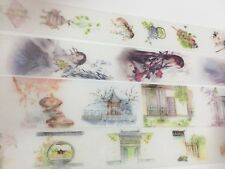 Chinoiserie Washi tape Ancient Women Comb courtyard architecture Fan Kettle