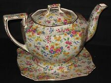 ~RARE Royal Winton Grimwades China Chintz FIREGLOW Ajax Teapot & Trivet 1930s~