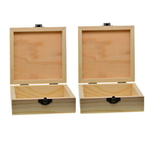 2x Natural Unfinished Plain Wooden Jewelry Box Organizer Storage Case Craft