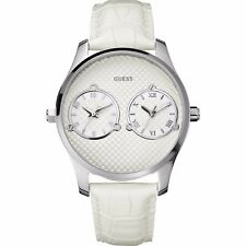 Guess Orologio Unisex Dual Time Bianco White W80043G1 Doppio Orario Pelle Watch
