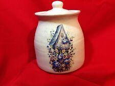 Stoneware Cookie Jar with Handpainted(?) Birdhouse/floral Decoration
