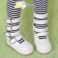 4-Strap Mary Jane Shoes Boots White For R-Large Feet MSD 1/4 BJD Kaye Wiggs Doll