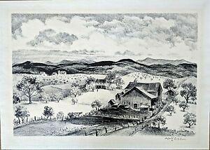 """Adolf Dehn Lithograph """"Pennsylvania Farm"""" 1948, Pencil Signed"""