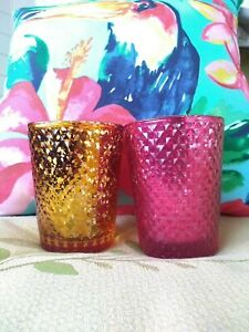 Lot of 2 Pink Orange Sunset Diamond Faceted Mercury Glass Style Candle Holders