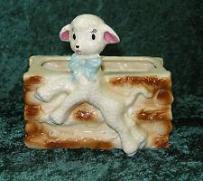 VINTAGE CERAMIC / POTTERY 50'S RETRO SHEEP LAMB LOG CABIN PLANTER CUTE KITSCH