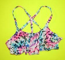 Victorias Secret Pink Bikini TOP ONLY Small Leopard Flounce Neon X back CUT OUT