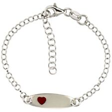 Sterling Silver Rolo Baby ID Bracelet in White Gold Finish Red with Heart Accent