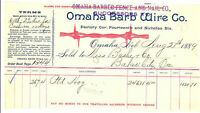 1884 OMAHA BARB WIRE CO. Bill Head - Invoice