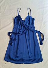 EX CON Wish Size 8 Dress Blue Satin Evening Races Sleeveless Grunge 90's Short