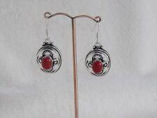 Hook Drop/Dangle Coral Stone Costume Earrings