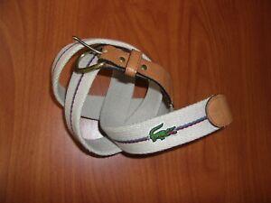 Vintage Izod Lacoste Croc Logo Genuine Leather Cotton Canvas Belt 38