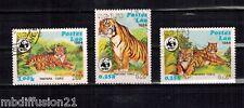 1984- SERIE DE 3 TIMBRES OBLIT.**//-/TIGRE-WWF////LAOS  Y/T-:521/23