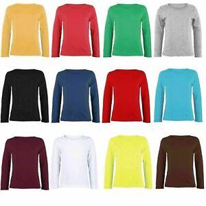 Kids Girls Long Sleeve Round Neck Plain Basic Stretch T-Shirt Top Age 2-13 Years