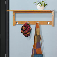 Wall-Mount Bamboo Coat Rack  Hanging Entryway Organizer with Storage Shelf w/ 4
