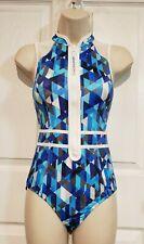 NWOT Lands' End Sport Women's Zip Front Modest One Piece Swimsuit Blue Size 4