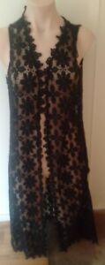 Ice Fashion/Design Vest Sleeveless Long Line Crochet Lace Black Size Large BNWT