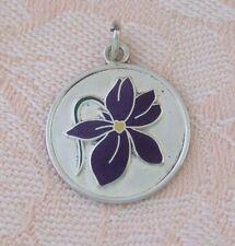 Vintage JULY BIRTH FLOWER ~ LARKSPUR ~ Sterling Silver ENAMEL Charm