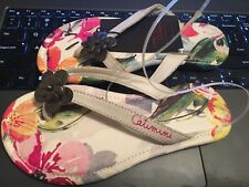 Catimini Girls Leather Pink T-Strap Flip Flops Sz 11.5US / 29/30 EU
